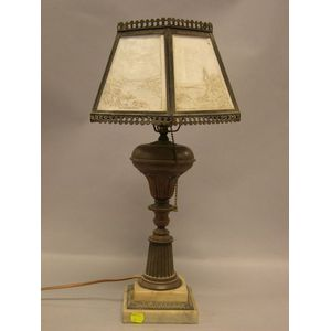 Five-Panel Landscape Lithophane Shade on Brass and White Marble Table Lamp Base.