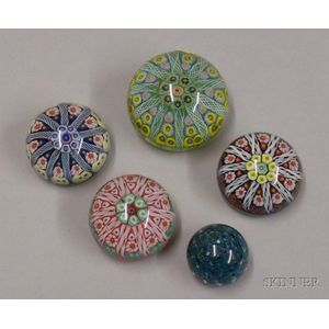 Five Internally Decorated Strathearn Paperweights