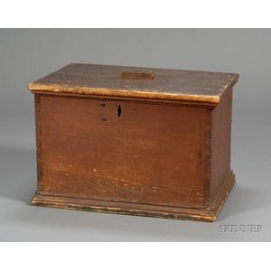 Red-painted Pine Ballot Box