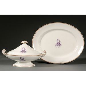 Neal Dow Presentation Oval Porcelain Covered Tureen and Underplate