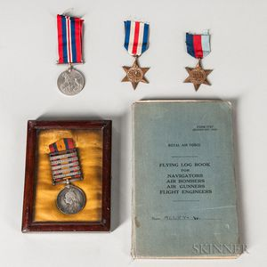 RAF WWII Lancaster Bomber Flying Logbook And Four British Medals