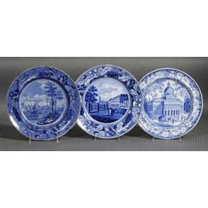Three Staffordshire Pottery Blue Transfer Decorated Dinner Plates