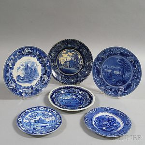 Six Blue and White Transfer-decorated Plates