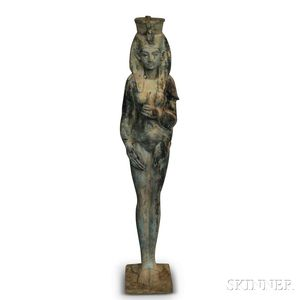 Egyptian-style Patinated Cast Metal Statue of a Woman