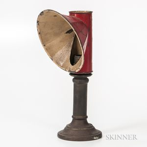 Brass Candlestick Student Lamp with Red-painted Shade