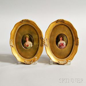 Pair of Framed Leslie Johnson Porcelain Miniature Portrait Plaques