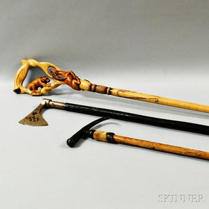 Sergey Shestopalov Carved Wood Walking Stick and Two Others