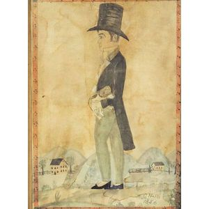 American School, 19th Century    Portrait of a Young  Man Wearing aTop Hat Holding a Dog.