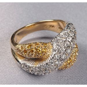 14kt Bicolor Gold, Colored Diamond, and Diamond Ring