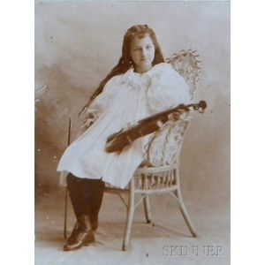 Eight Framed Cabinet Cards of Young Female Violinists, c. 1860-1900.     Estimate $40-60