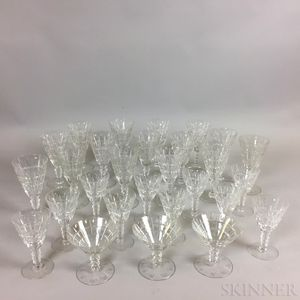 Twenty-eight Pieces of Hawkes Colorless Glass Stemware