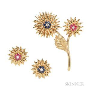 18kt Gold Gem-set Flower Suite