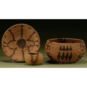 Three Western Coiled Baskets
