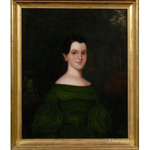 American School, 19th Century      Portrait of a Girl Wearing a Green Dress.