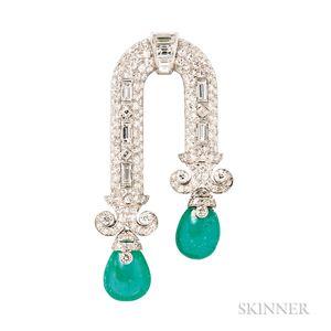Art Deco Platinum, Emerald, and Diamond Brooch, Ostertag