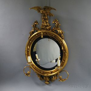 Classical-style Gilt and Carved Girandole Mirror