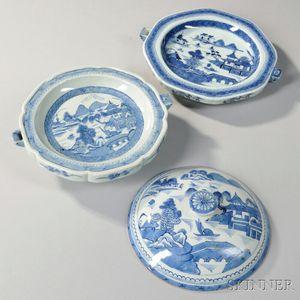 Two Canton Porcelain Warming Plates