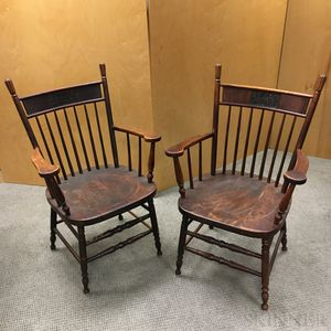 Pair of Maple Boston & Maine Railroad Armchairs