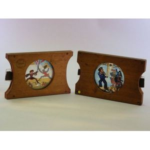 Seven Wood-mounted Mechanical Magic Lantern Slides