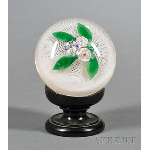 Glass Paperweight with Millefiore Flowers