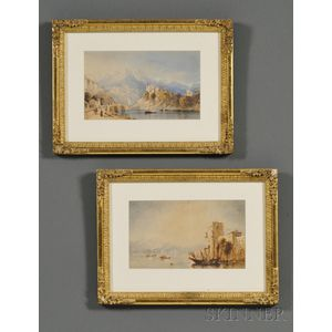 Italian School, 19th/20th Century      Lot of Two Watercolor Shoreline  Scenes