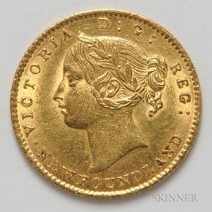 1870 Newfoundland No Dot $2 Gold Coin