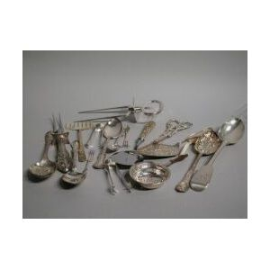 Seventeen Assorted Sterling and Silver-plated Flatware Serving Pieces.