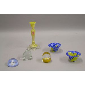 Six Assorted Colored Art Glass Table Items
