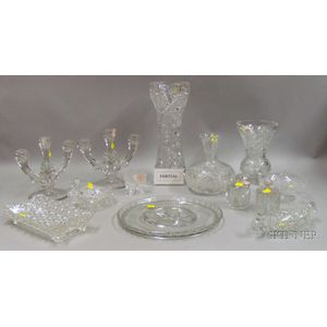 Large Group of Colorless Cut and Pressed Glass Tableware
