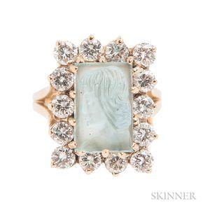14kt Gold, Aquamarine Cameo, and Diamond Ring