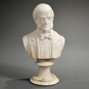 American School, 19th Century       Alabaster Bust of Emerson