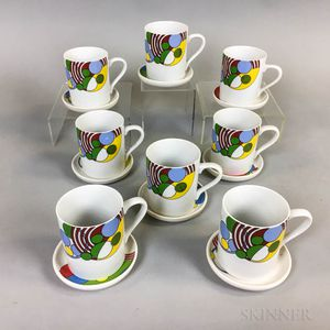 """Set of Eight Frank Lloyd Wright for Tiffany """"Cabaret"""" Coffee Cups and Saucers.     Estimate $20-200"""