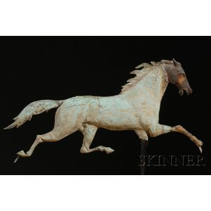 """Molded Copper and Cast Iron """"Ethan Allen"""" Running Horse Weather Vane"""