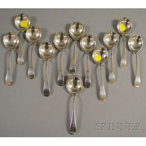 Set of Twelve Whiting Sterling Silver Soupspoons