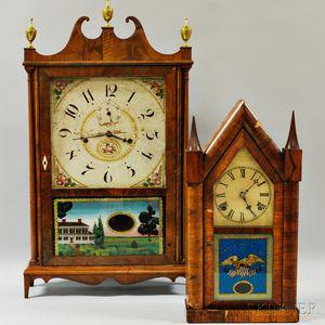 Seth Thomas Pillar and Scroll Shelf Clock and a Waterbury Steeple Clock