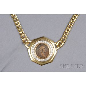 18kt Gold, Diamond, and Ancient Coin Pendant Necklace, Italy