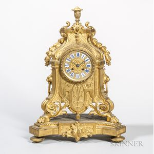 French Baroque-style Bronze Mantel Clock