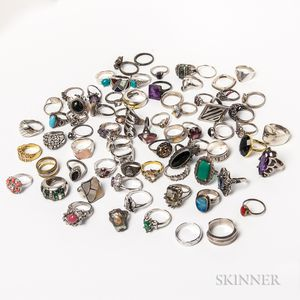 Approximately Seventy-two Sterling Silver and Silver Rings