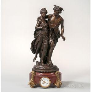 Figural Bronze-mounted Mantel Clock