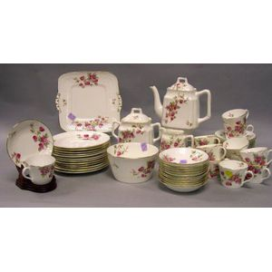 Fifty-four Piece Floral Decorated China Tea Service.