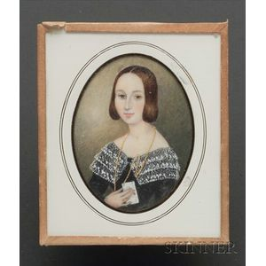 Portrait Miniature of a Young Woman Holding a Letter