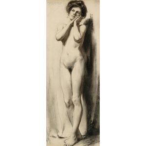 Eric L. (Frederic) Pape (American, 1870-1938)      Standing Nude Portrait of Alice M. Pape, the Artist
