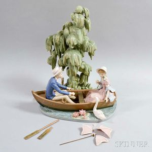 Large Lladro Ceramic Figural Group of a Couple in a Canoe
