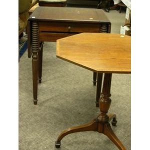 Regency-style Mahogany Inlaid Candlestand and a Federal-style Mahogany Drop-leaf