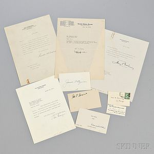 Roosevelt, Franklin Delano (1882-1945) Archive Containing One Presidential Typed Letter Signed and Signed Material Related to Members o