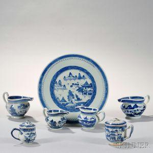 Seven Canton Porcelain Table Items
