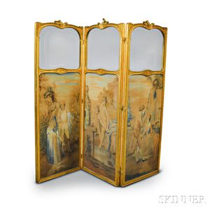 Louis XV-style Carved and Gilt-gesso Three-panel Screen