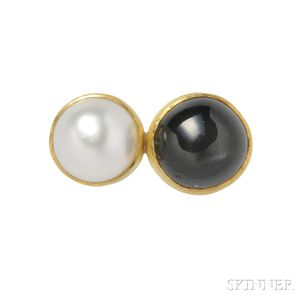 22kt and 14kt Gold, Cultured Pearl, and Black Star Sapphire Ring,   Sam Shaw