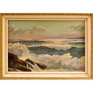Alexander Nelke (American, 1894-1974)    Waves Crashing on Rocks