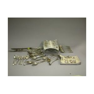 Approximately Fifty-seven Pieces of Coin and Sterling Silver Flatware.